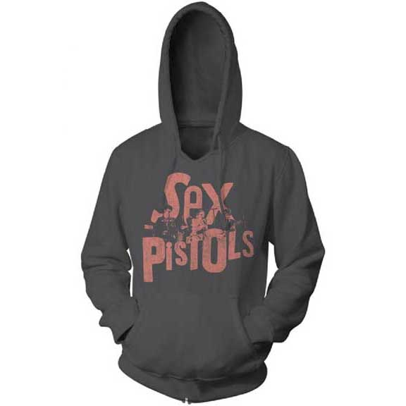 Sex Pistols- Logo & Pic on a charcoal hooded sweatshirt