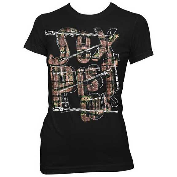 Sex Pistols- Zipper Logo on a black girls fitted shirt