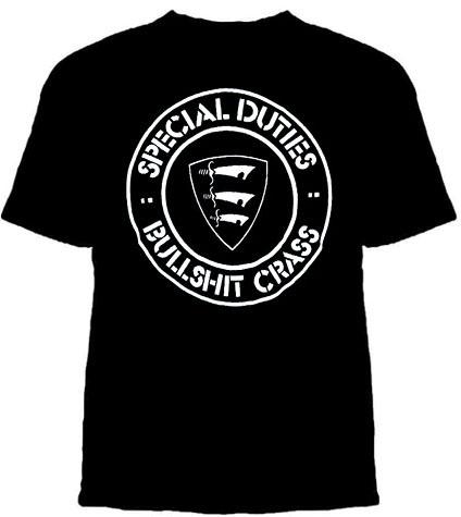 Special Duties- Bullshit Crass on a black shirt (Sale price!)