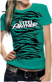 Steel Panther- Zebra Print on a jade girls fitted shirt (Sale price!)