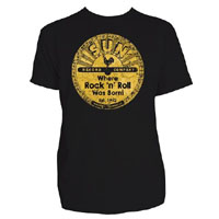 Sun Records- Where Rock N Roll Was Born! on a black shirt by Steady Clothing