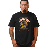 Sun Records - Electric Microphone on a black shirt by Steady Clothing