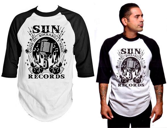 Sun Records- Rockabilly Music Raglan Baseball shirt by Steady Clothing - SALE
