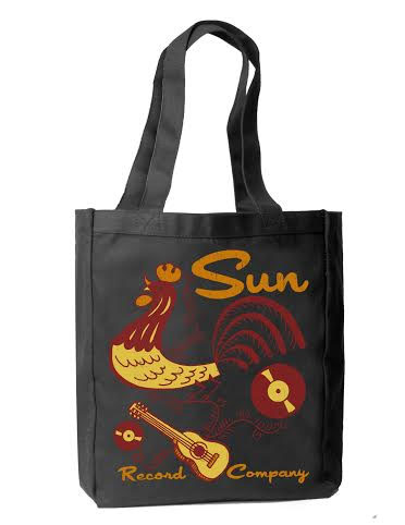 Sun Records Rooster Doodle on a black tote bag - SALE