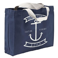 Drink like a Fish on navy tote bag by Steady Clothing - SALE
