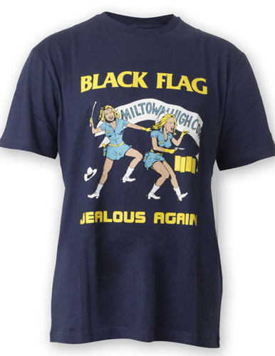 Black Flag- Jealous Again on a navy shirt
