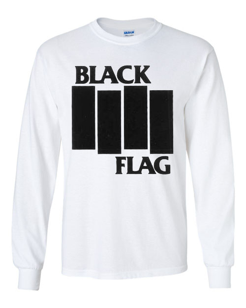 Black Flag- Bars And Logo on a white LONG SLEEVE shirt