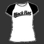 Black Flag- Baseball Logo on a white/black girls fitted shirt