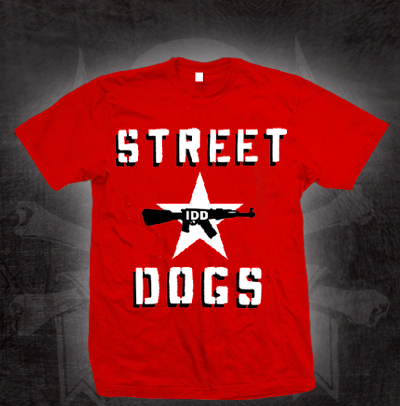 Street Dogs- IDD (Brigade Rosse Knock off Design) on a red shirt (Sale price!)