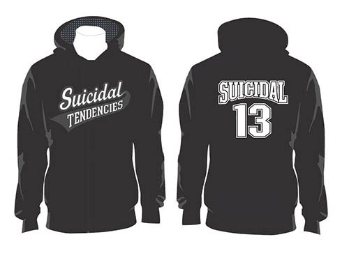 Suicidal Tendencies- Logo on front, 13 on back on a black hooded sweatshirt