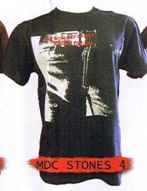 Rolling Stones- Sticky Fingers Color Bleachout Print on a black shirt by Mosquitohead (Sale price!)