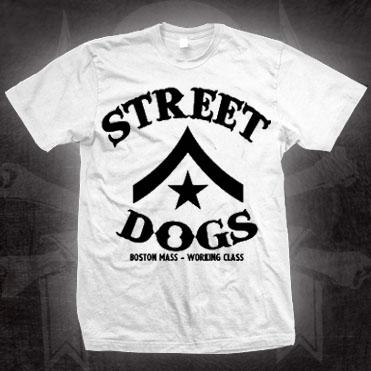 Street Dogs- Boston Mass Working Class (Chevron Logo) on a white shirt (Sale price!)