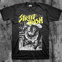 Street Trash- Just When You Thought You Had Seen It All (Yellow & White Print) on a black shirt