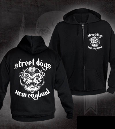 Street Dogs- New England Snaggletooth on front & back on a black zip up hooded sweatshirt (Sale price!)