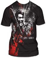 Army Of Darkness- Blood & Smoke subway print (Oversized full shirt image) on a black ringspun cotton shirt (Sale price!)