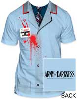 Army Of Darkness- Hello, My Name Is (Oversize Subway Print) on front, Logo on back on a light blue shirt (Sale price!)