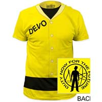 Devo- Duty Now Suit (Subway Print) on a yellow ringspun cotton shirt (Sale price!)