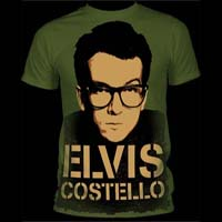 Elvis Costello- Face subway print (Oversized full shirt image) on an army green ringspun cotton shirt (Sale price!)
