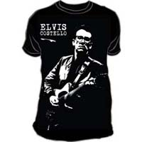 Elvis Costello- With Guitar subway print (Oversized full shirt image) on a black ringspun cotton shirt (Sale price!)