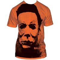 Halloween- Mask subway print (Oversized full shirt image) on an orange ringspun cotton shirt
