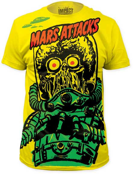 Mars Attacks- Martian Subway Print on a yellow ringspun cotton shirt