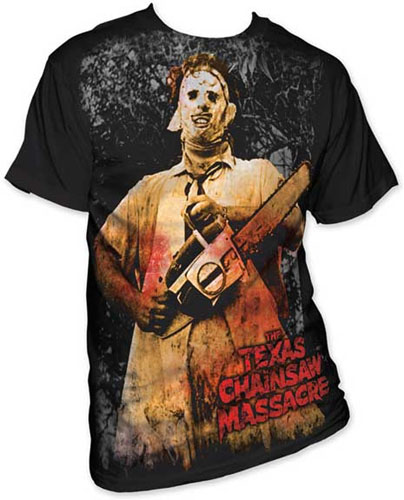 Texas Chainsaw Massacre- Full Color Leatherface (Subway Print) on a black shirt