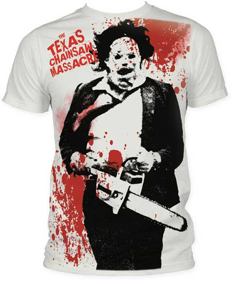 Texas Chainsaw Massacre- Leatherface & Splatter (Subway Print) on a vintage white ringspun cotton shirt