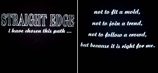 Straight Edge- I Have Chosen This Path on front, Quote on back on a black hooded sweatshirt (Sale price!)
