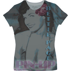 Bettie Page- Pin-Up All Over Print girls fitted shirt