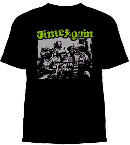 Time Again- Guerillas on a black YOUTH sized shirt (Sale price!)