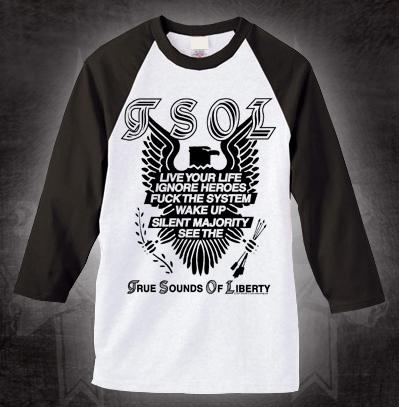 TSOL- Eagle on a white baseball shirt with black 3/4 sleeves (Sale price!)