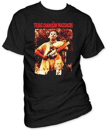Texas Chainsaw Massacre- Leatherface & Grandpa on a black shirt