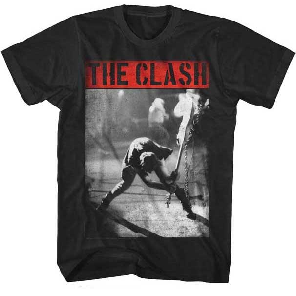 Clash- London Calling (Red Logo) on a black ringspun cotton shirt