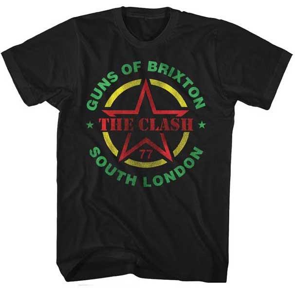 Clash- Guns Of Brixton on a black ringspun cotton shirt