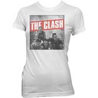 Clash- Band Pic on a white girls fitted shirt