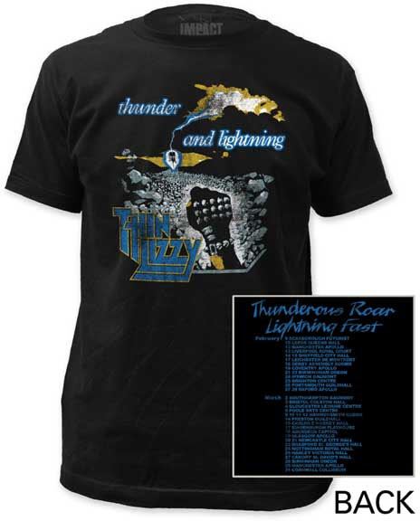 Thin Lizzy- Thunder & Lightning on front & back on a black ringspun cotton shirt (Sale price!)