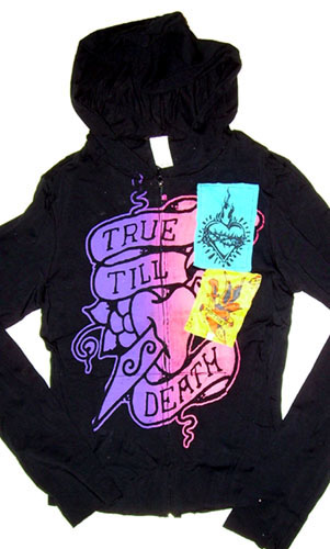 True Till Death with Sewn On Patches on a black long sleeve fitted zip up hooded girls shirt by Mosquitohead