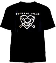 Tsunami Bomb- Heart Skull on a black YOUTH SIZED shirt (Sale price!)