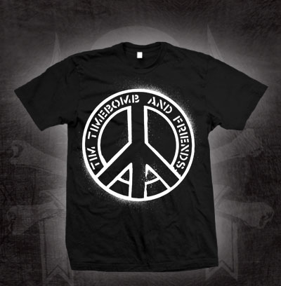 Tim Timebomb- Peace Logo on a black shirt (Sale price!)