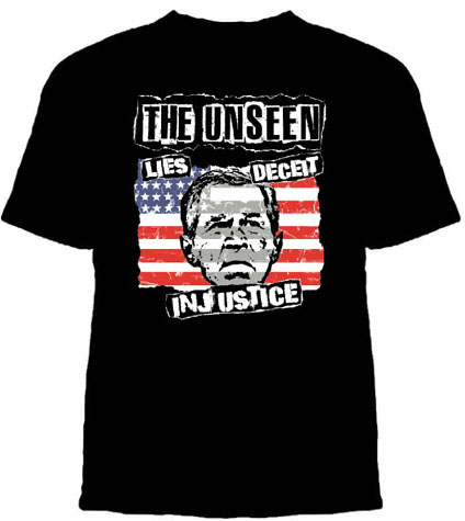 Unseen- Lies Deceit Injustice on a black shirt (Sale price!)