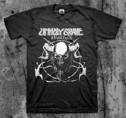 Unholy Grave- Revoltage on a black shirt