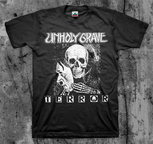 Unholy Grave- Terror on a black YOUTH sized shirt