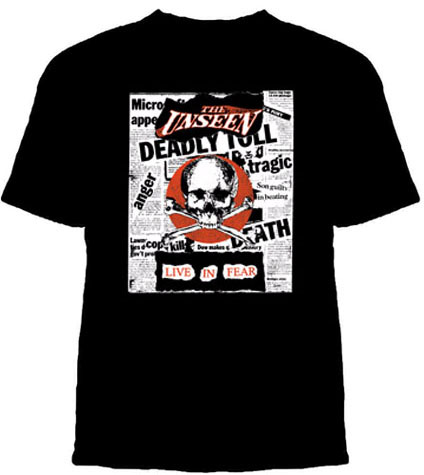 Unseen- Live In Fear (Skull And Newspapers) on a black shirt (Sale price!)