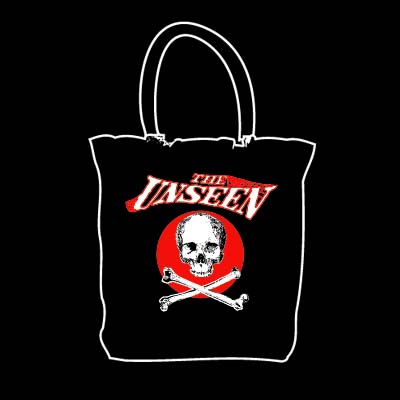 Unseen- Skull on a black tote bag (Sale price!)