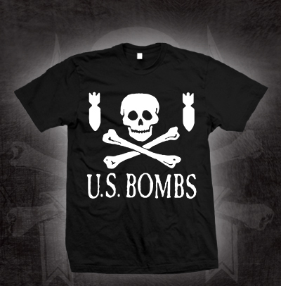 US Bombs- Skull And Bombs on a black shirt (Sale price!)