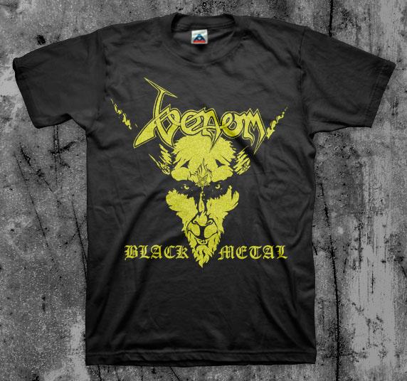 Venom- Black Metal (Gold Print) on a black shirt