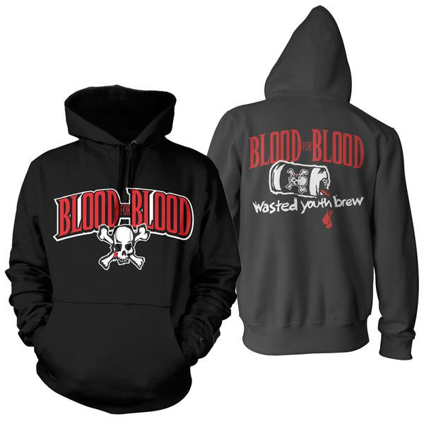 Blood For Blood- Skull And Logo on front, Wasted Youth Brew on back on a black hooded sweatshirt