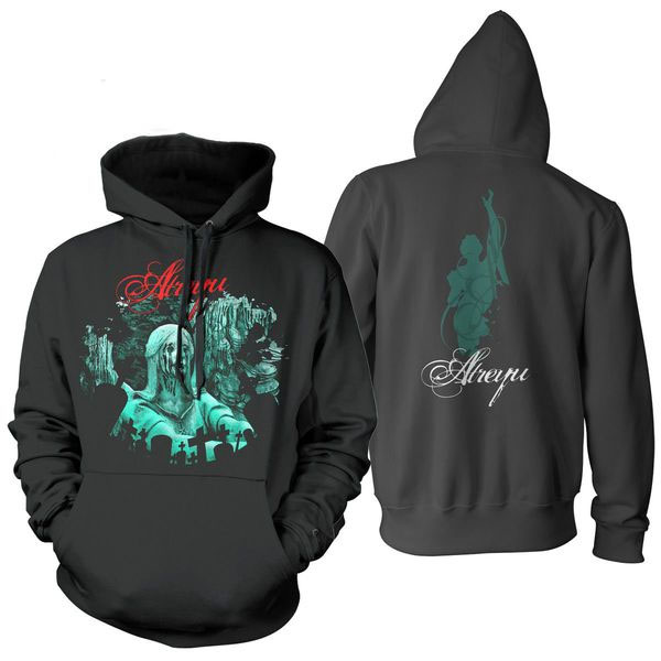 Atreyu- Statue on front, Girl And Logo on back on a black hooded sweatshirt