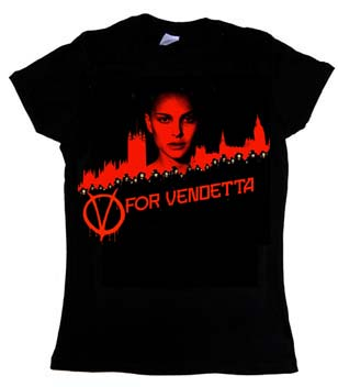 V Is For Vendetta- Face on a black girls fitted shirt (Sale price!)