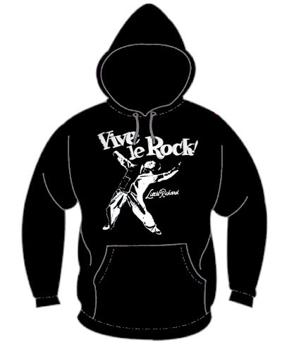 Vive Le Rock ('77 Design) on a black hooded sweatshirt